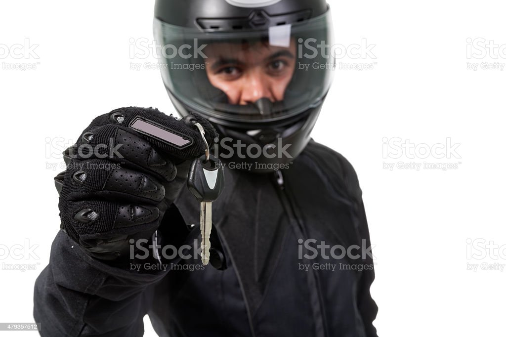 motorcyclist isolated on white stock photo