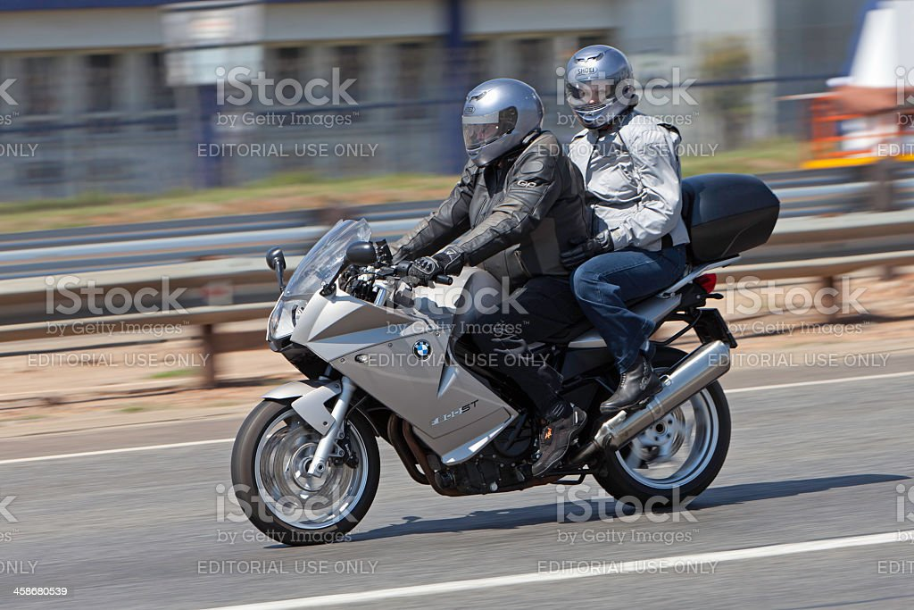 Motorcyclist travelling to the Toy Run stock photo
