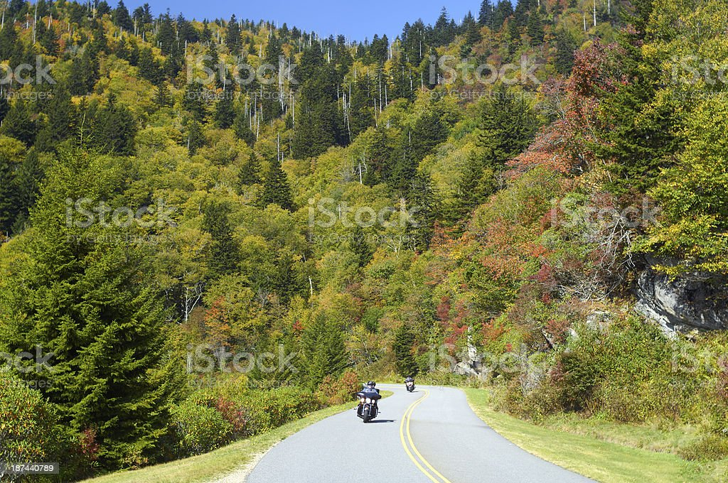 Motorcyclists on Blue Ridge Parkway in Autumn royalty-free stock photo