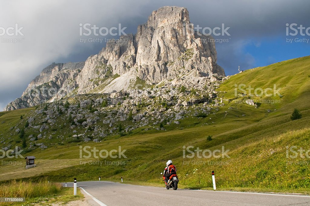 Motorcyclists on mountain pass royalty-free stock photo