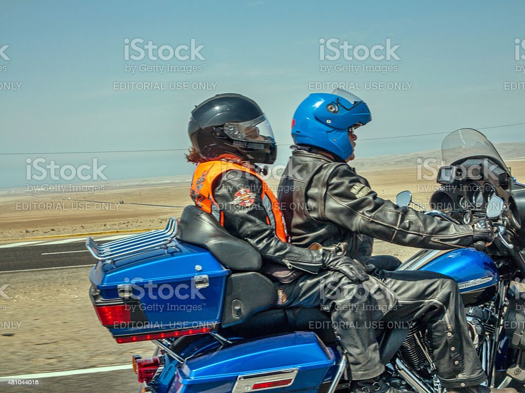 Motorcyclists on the pan-american highway in Peru stock photo