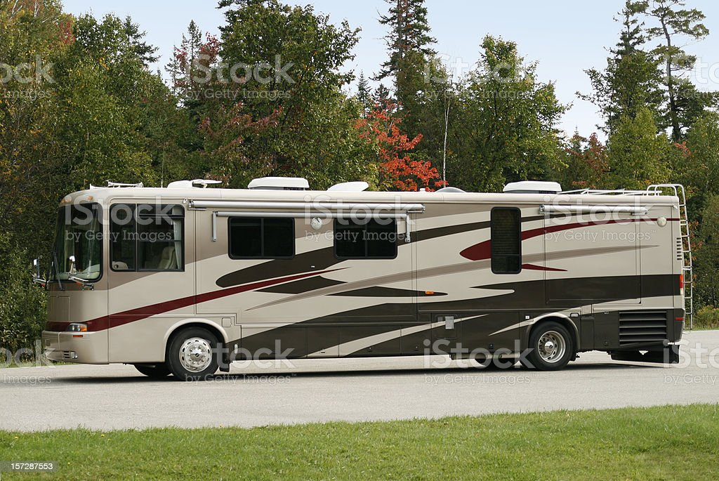 Motorhome and Fall Scenic Background stock photo