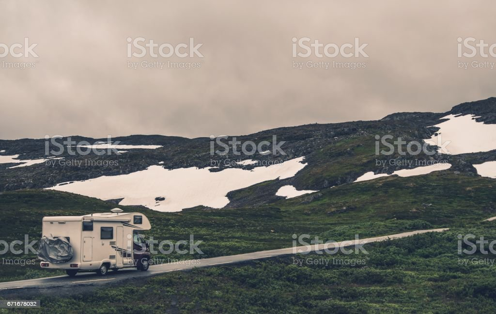 Motorhome and Rainy Weather stock photo