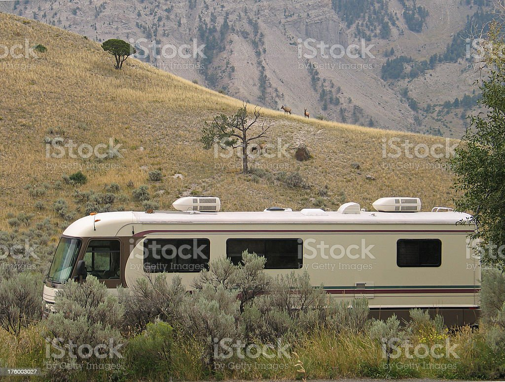 Motorhome Camped in Yellowstone stock photo