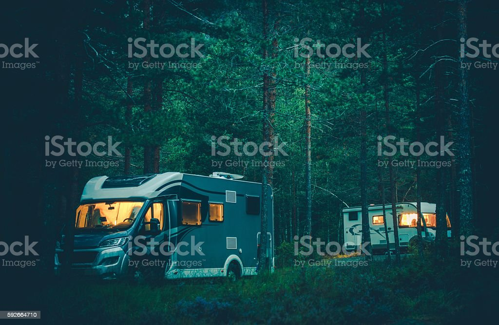 Motorhome Camping in a Wild stock photo