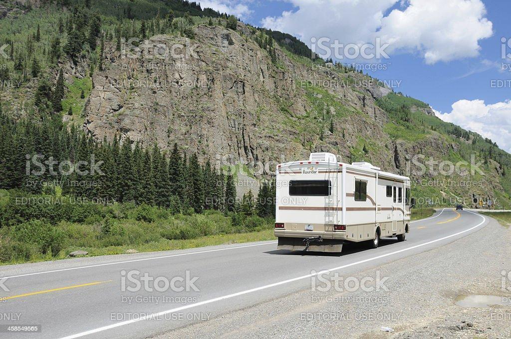 RV motorhome on Million Dollar Highway near Ouray Colorado stock photo