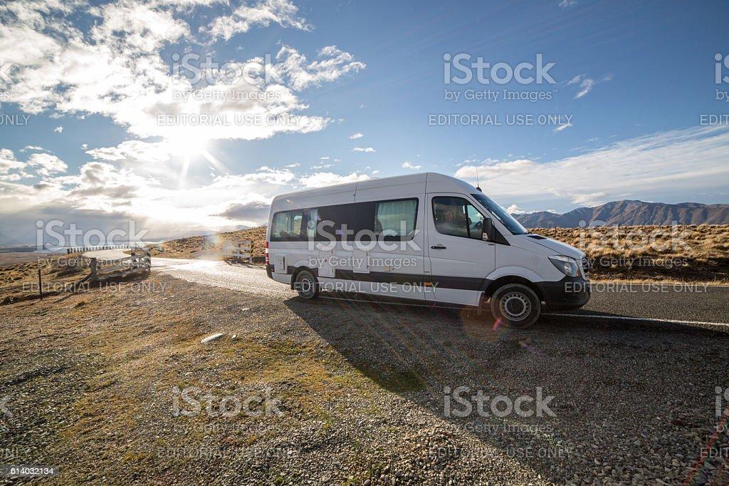 Motorhome on the road, New Zealand stock photo
