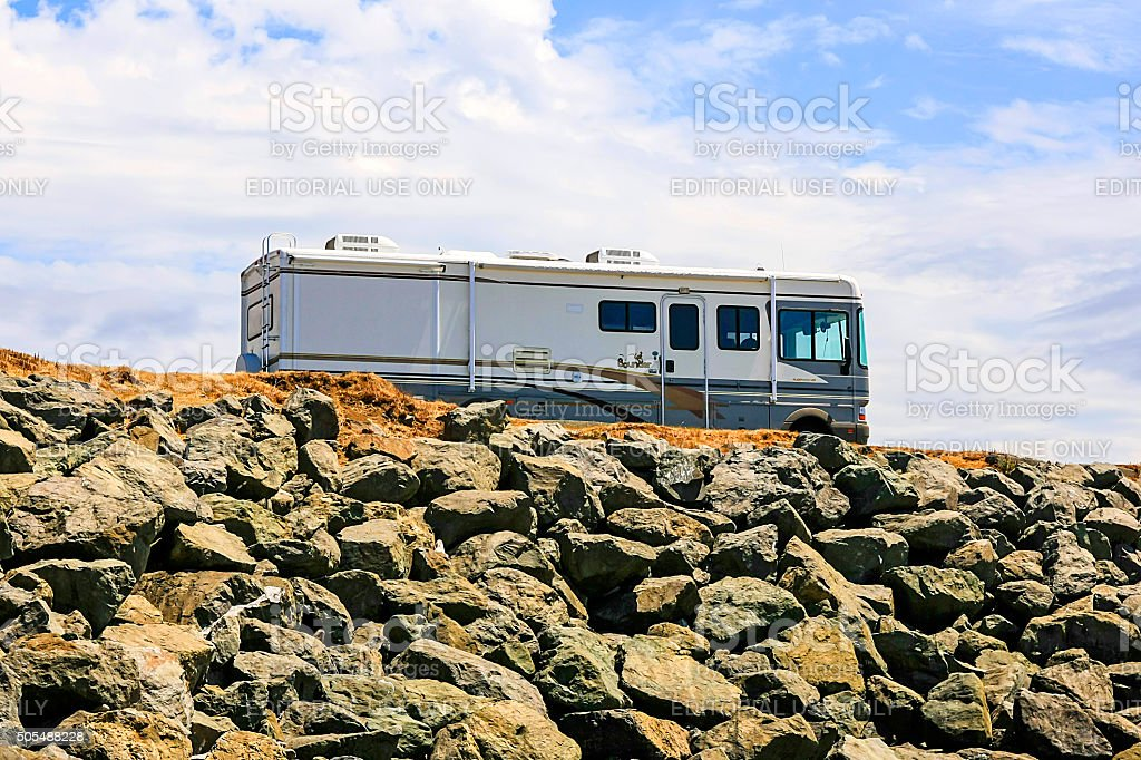 Motorhome parked at a rest stop in NW California stock photo