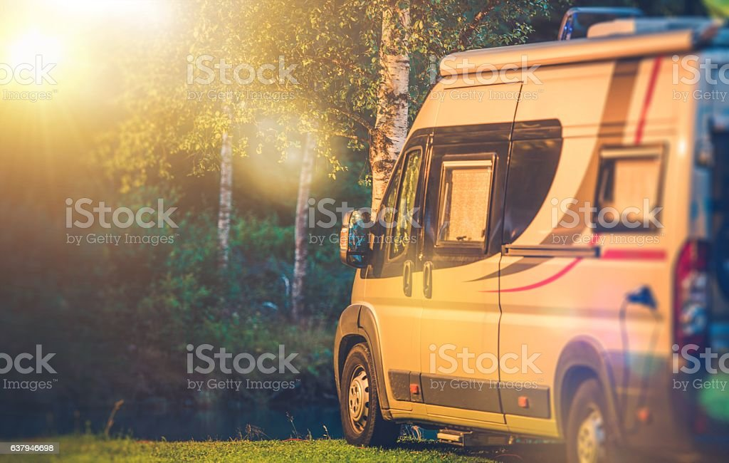 Motorhome RV Camping Spot stock photo