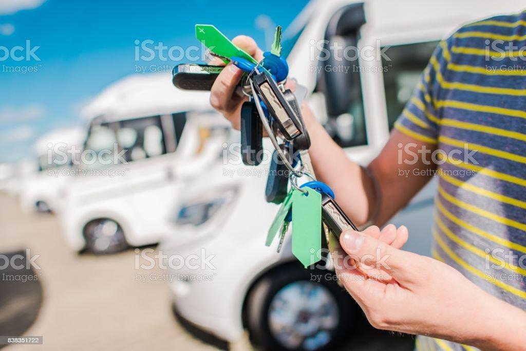 RV Motorhome Salesperson stock photo