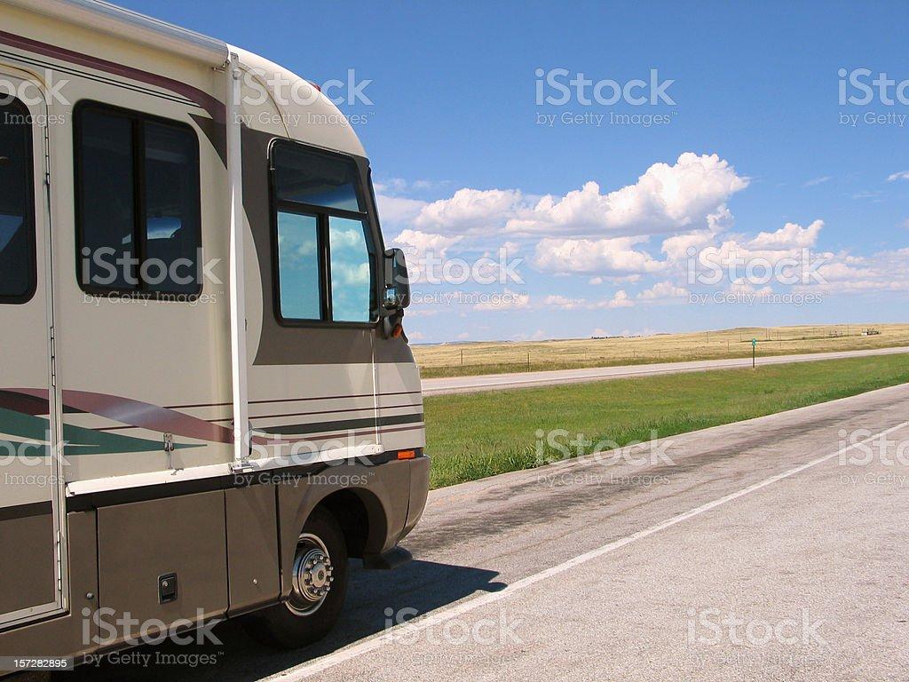 Motorhome & Scenic Background stock photo