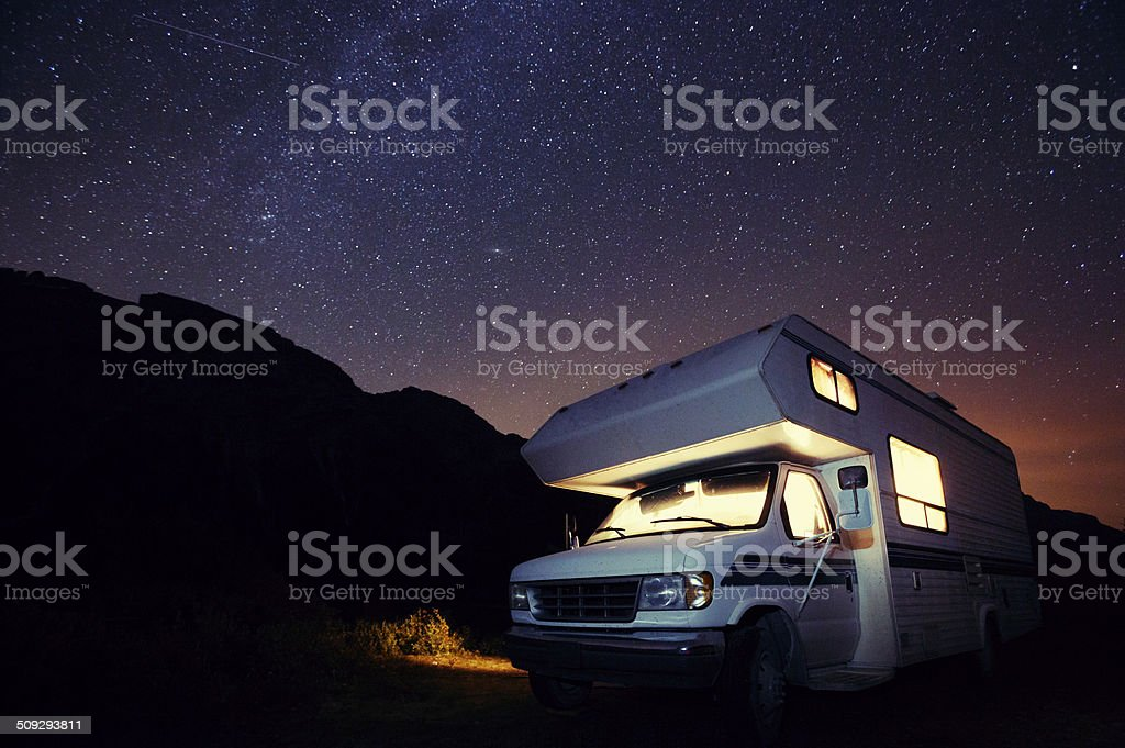 Motorhome Under the Stars stock photo