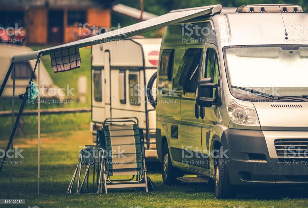 Motorhome Vacation Camping stock photo