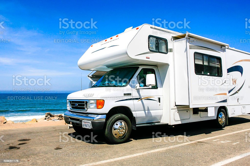 Motorhomes and travel-trailers parked on PCH near Ventura beach stock photo