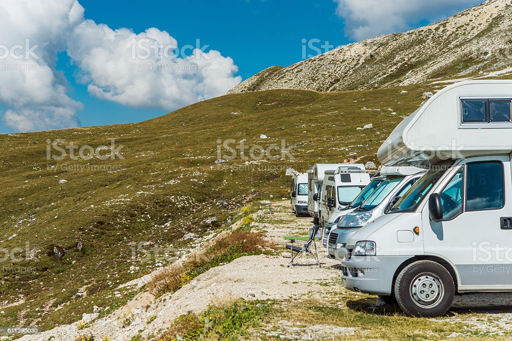 RV Motorhomes Camping stock photo