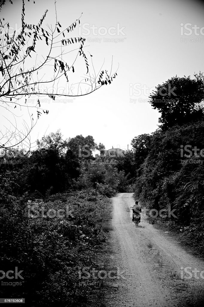Motorist in Mitikas stock photo