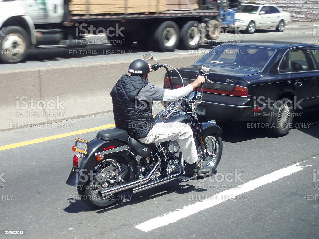 Motorist on road stock photo