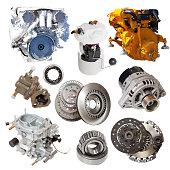 motors and few automotive parts. Isolated over white