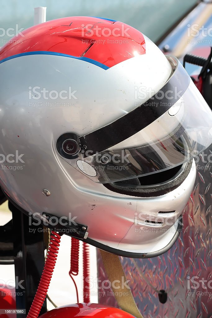 Motorsports racing helmet. Waiting for the driver.