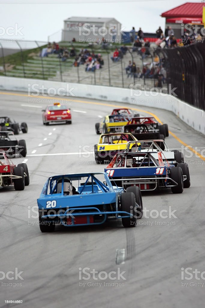 Motorsports-following pace car stock photo