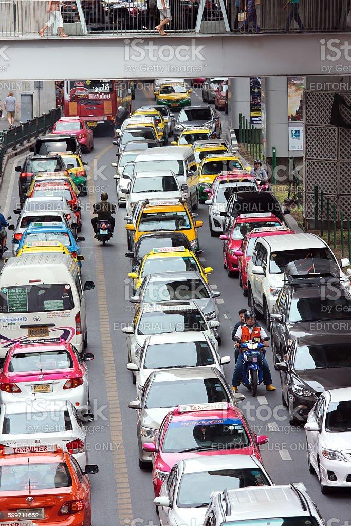 Motortaxi stuck in a traffic jam stock photo