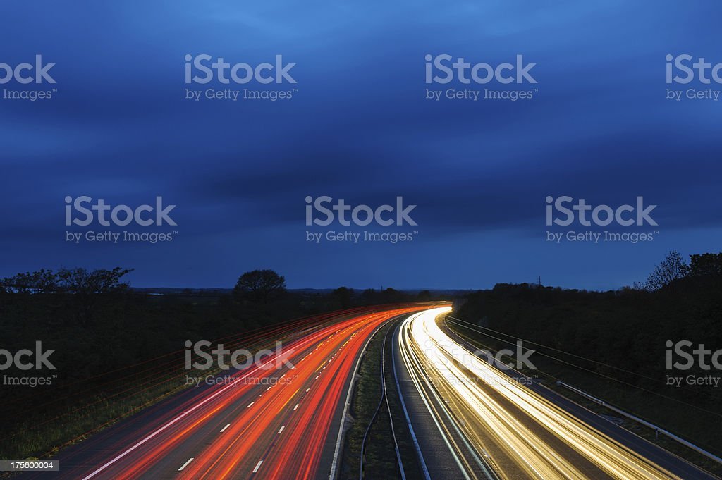 Motorway at Dusk stock photo