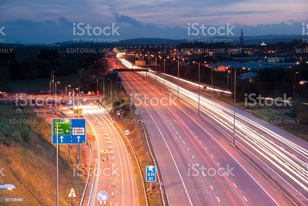M5 motorway at Exeter in Devon, UK stock photo