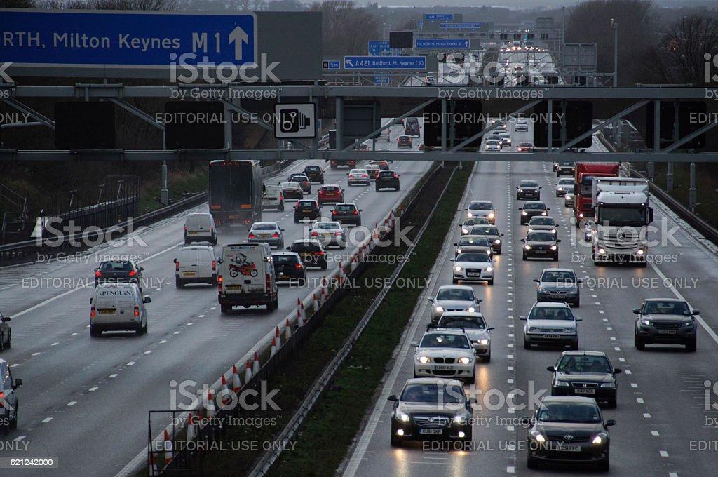 M1 Motorway Bedfordshire England UK stock photo