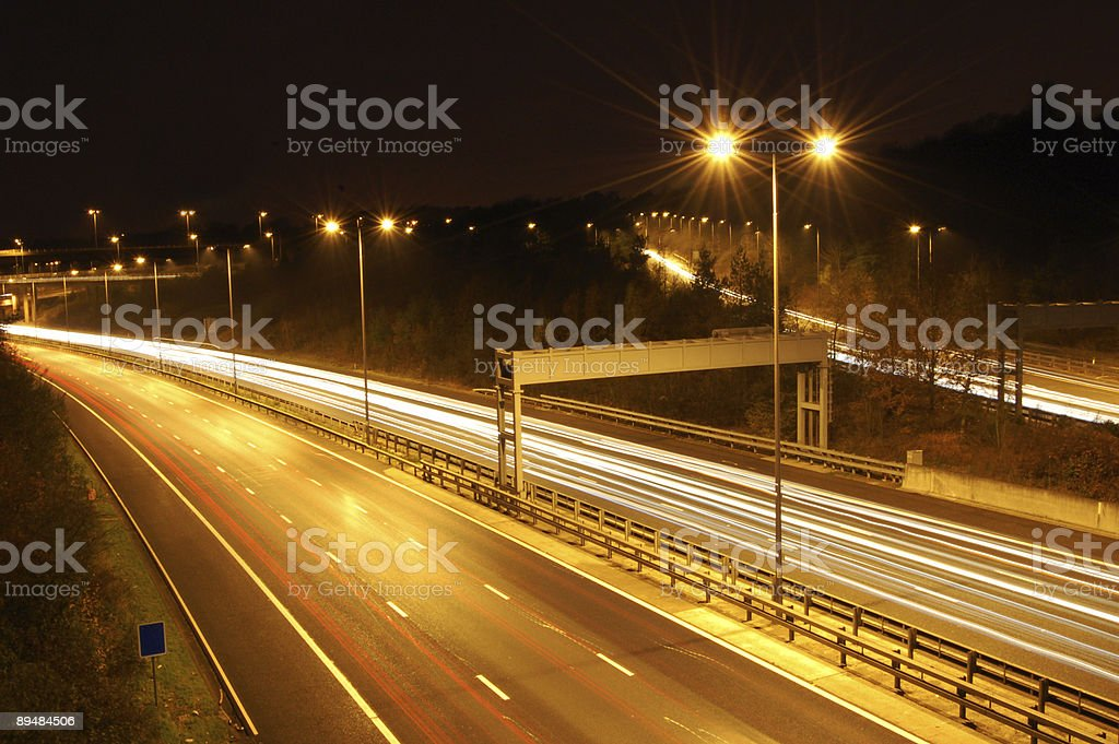 motorway blurred lights royalty-free stock photo