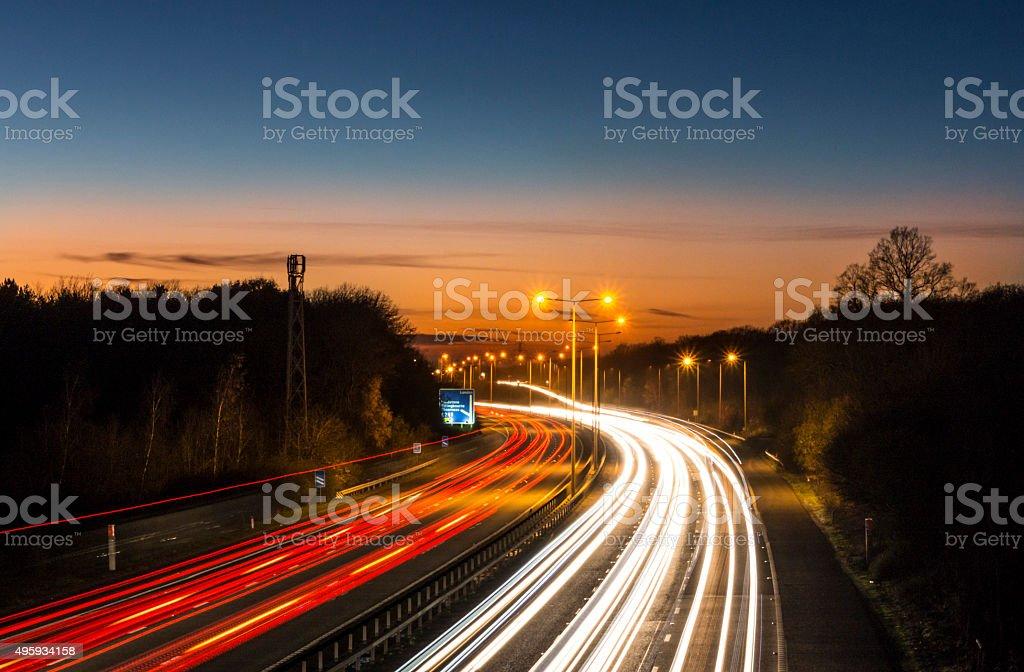 Motorway Car Light Trails stock photo