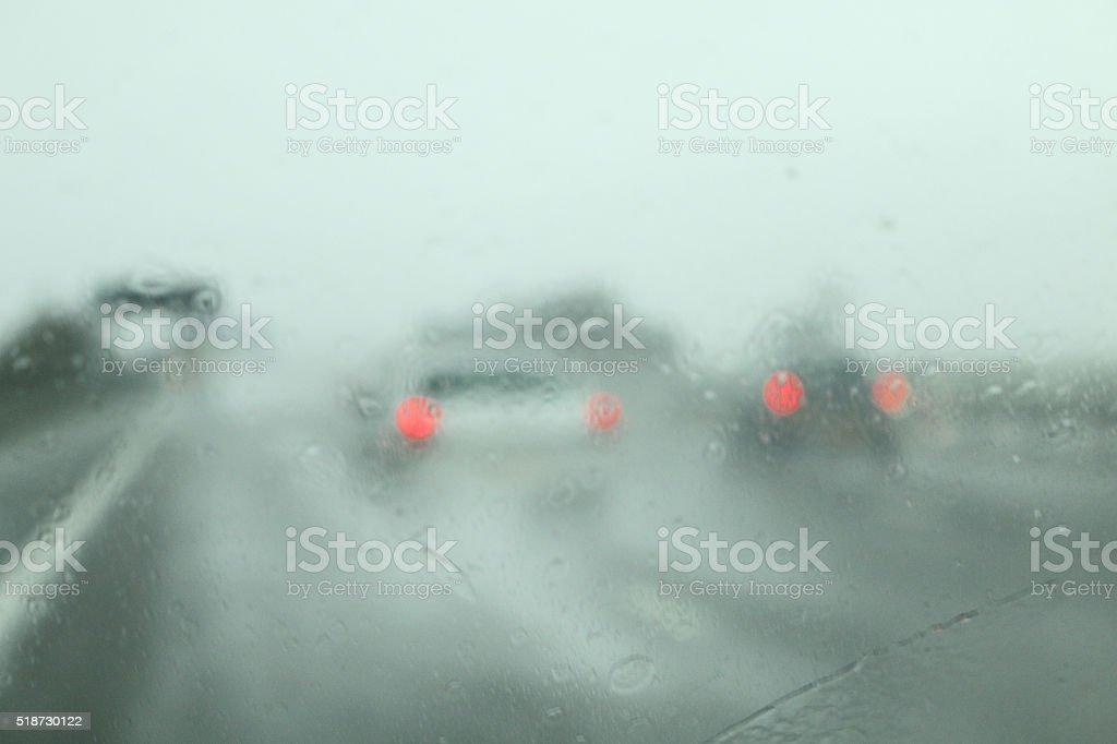 M6 Motorway in the rain stock photo