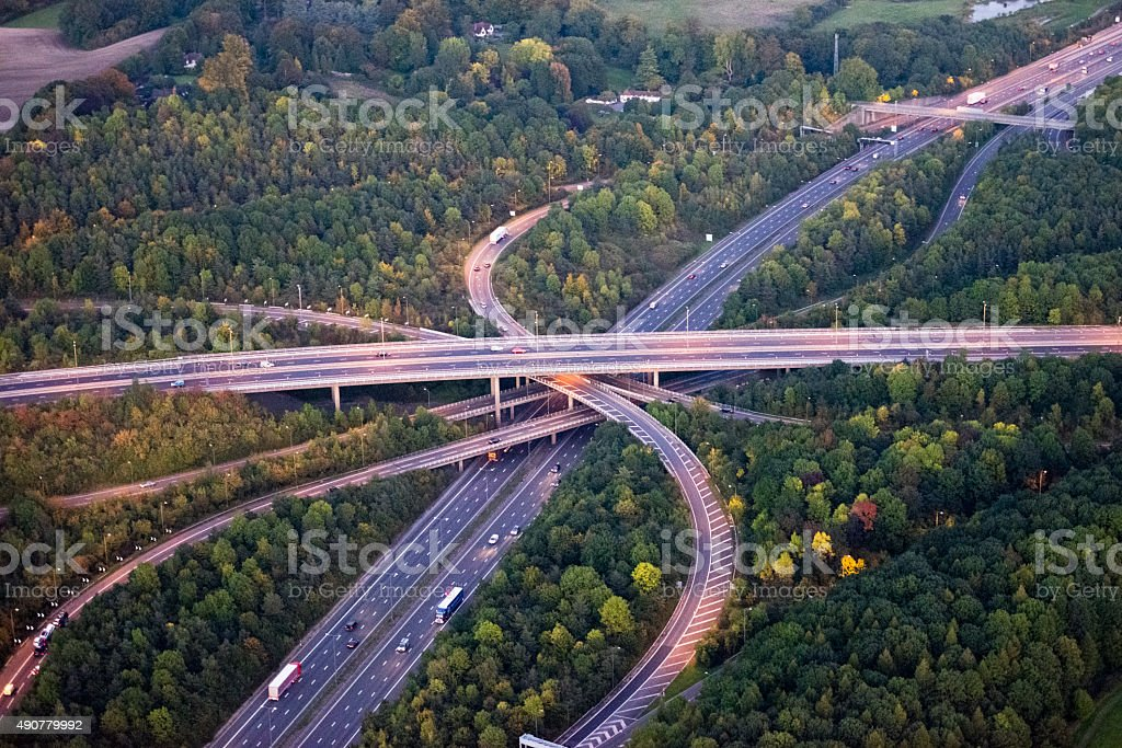M25 Motorway interchange stock photo