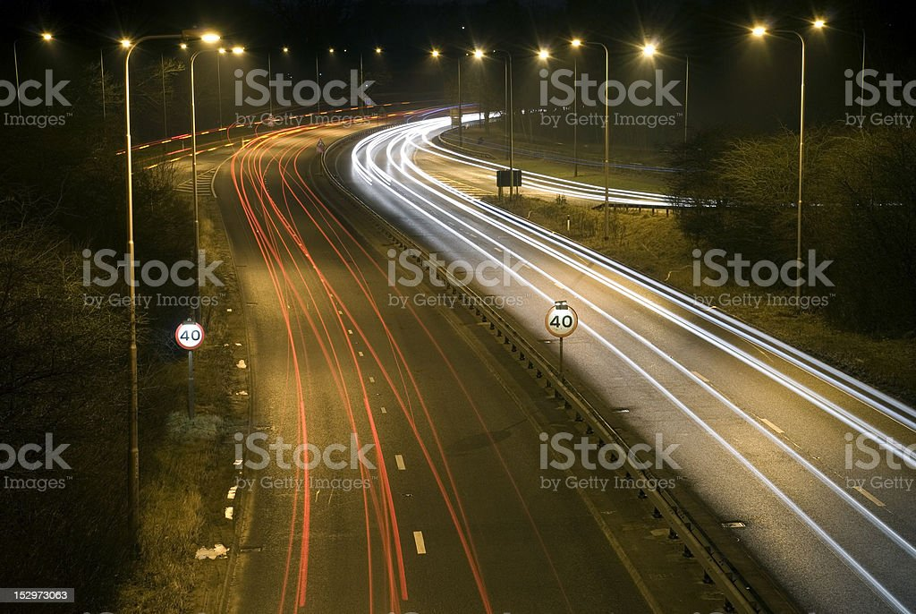 Motorway Light Trails After Dark stock photo