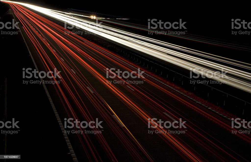 motorway light trails royalty-free stock photo