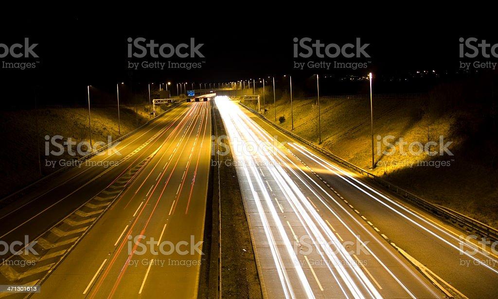 Motorway light trails stock photo
