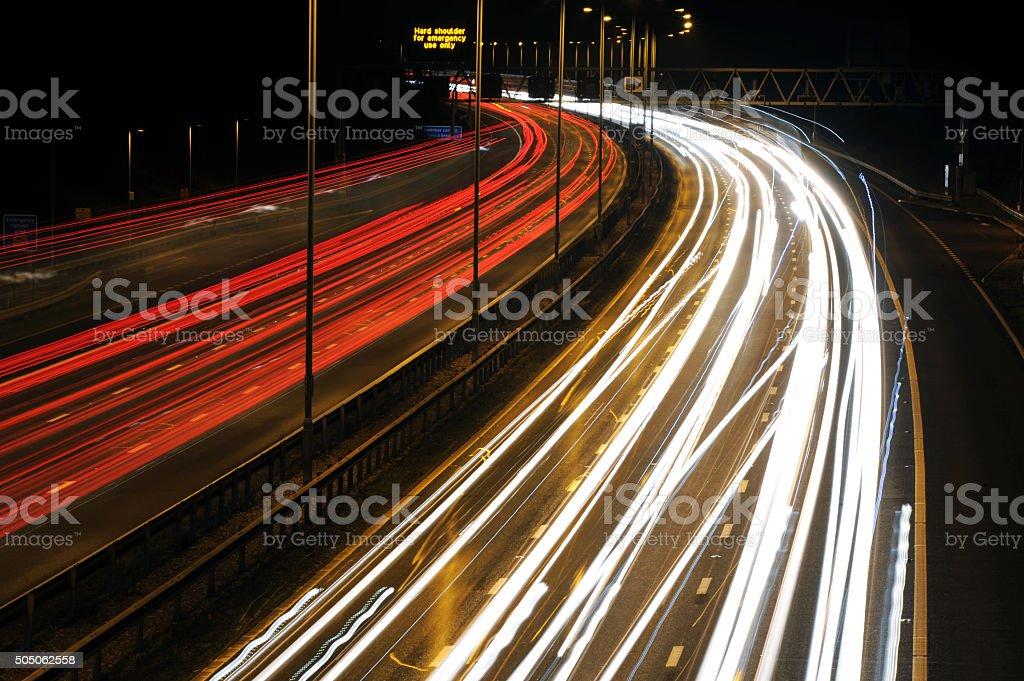Motorway Light Trails - Stock Photo stock photo