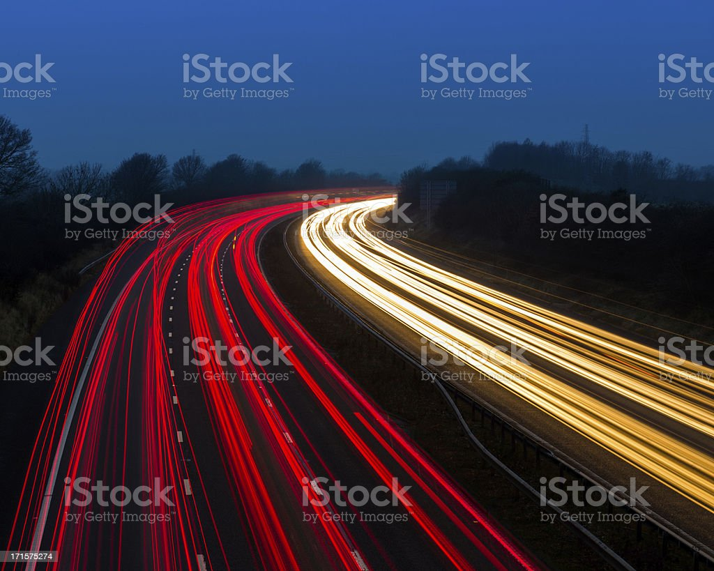 Motorway Lights at Dusk royalty-free stock photo