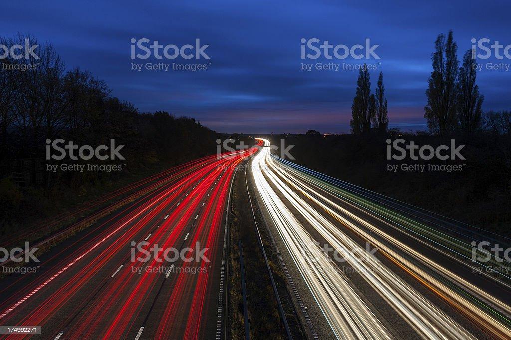 Motorway Lights at Night royalty-free stock photo
