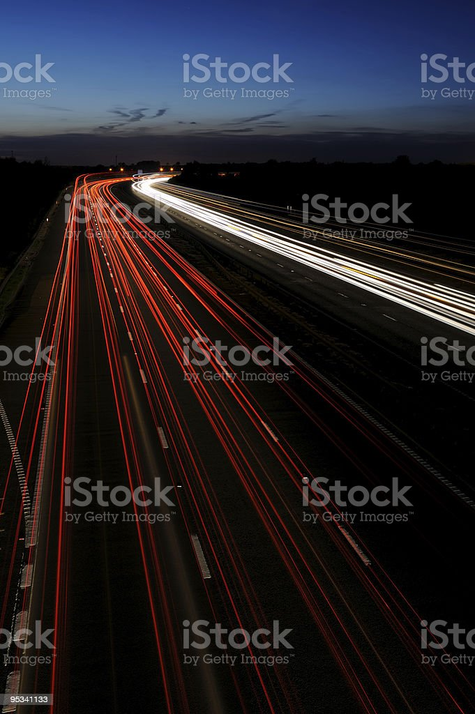 Motorway Lights at Twilight royalty-free stock photo