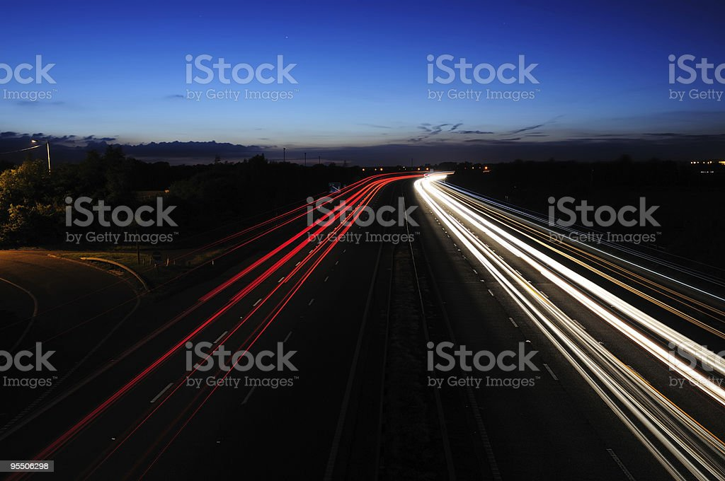 Motorway Lights at Twilight royalty-free stock photo