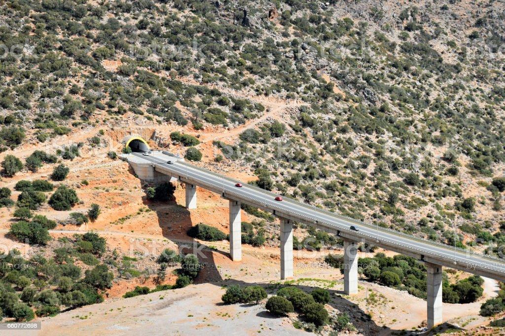 VOAK Motorway near the village of Chersonisos on the island of Crete in Greece stock photo