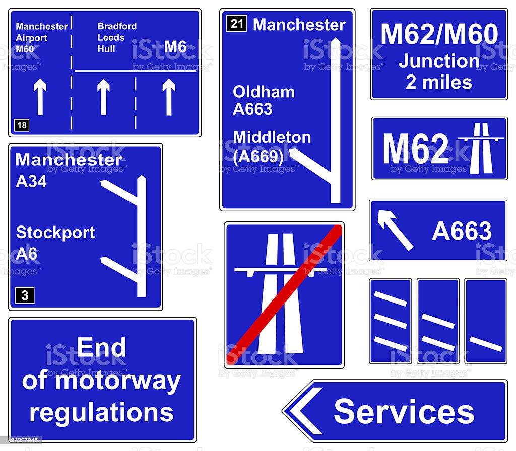 Motorway regulations signs stock photo