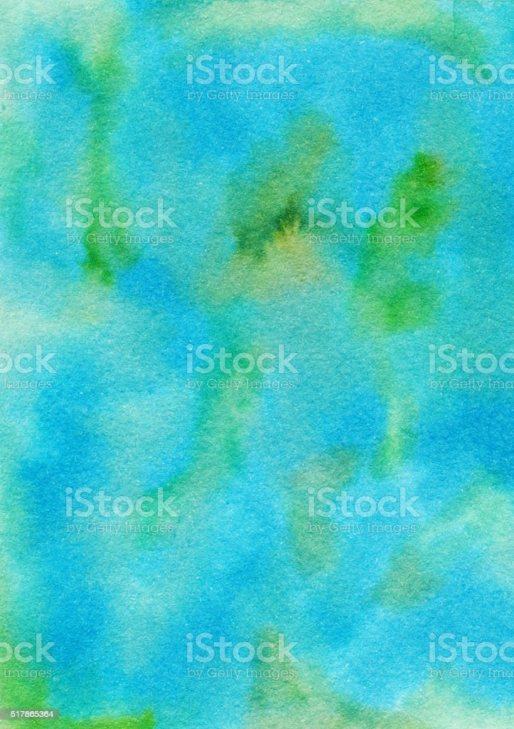 Mottled blue and green hand painted textured background stock photo