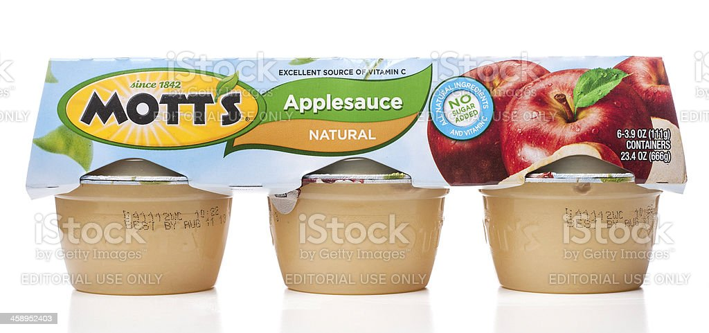 Mott's Applesauce Natural 6 containers package stock photo