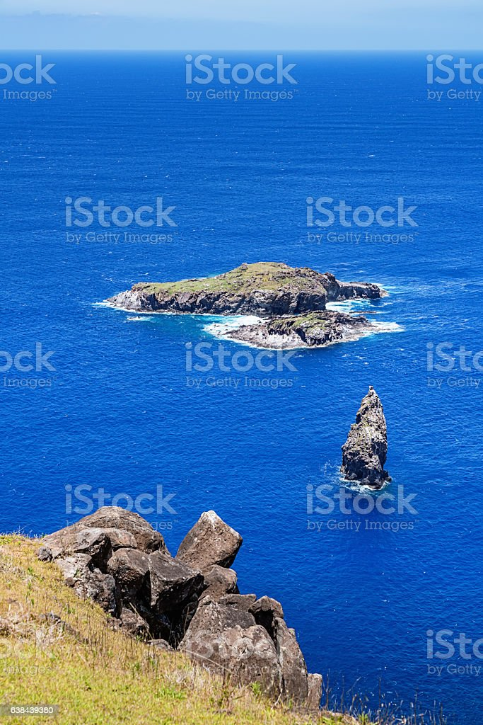 Motu Nui Motu Iti Easter Island Bird Island Rapa Nui stock photo