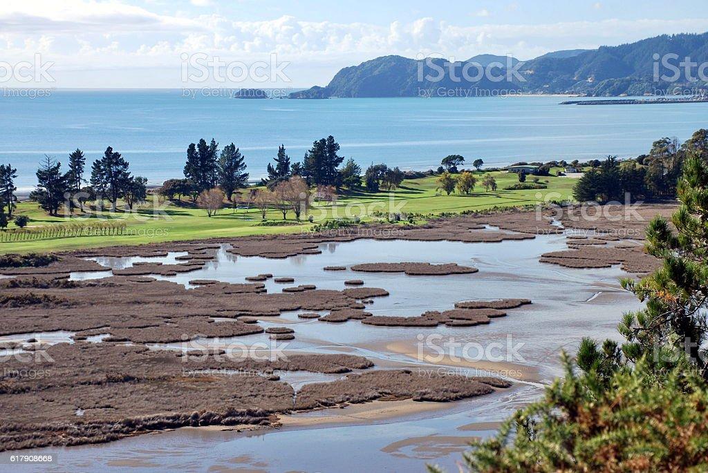 Motupipi Estuary, Near Pohara, Takaka, Golden Bay, NZ stock photo