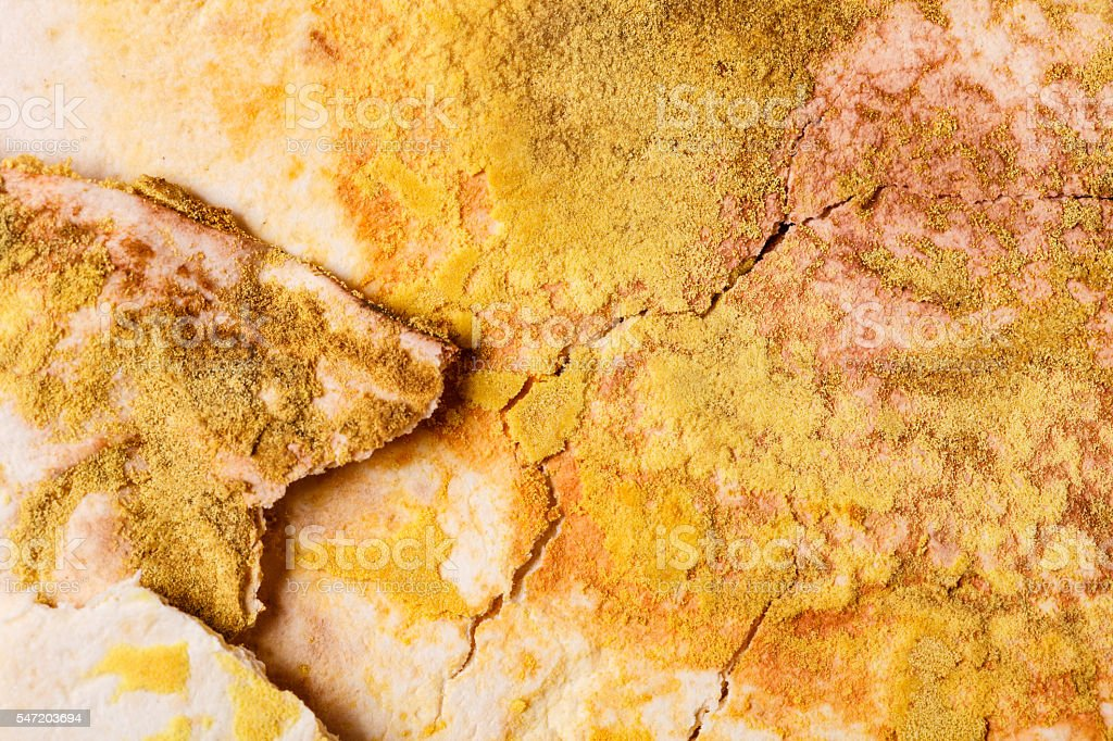 Mouldy growth on flat bread. stock photo