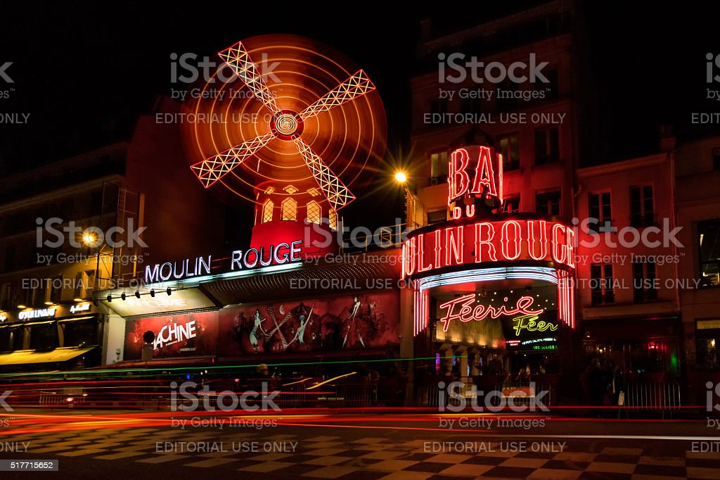 Moulin Rouge in Paris, France at night stock photo
