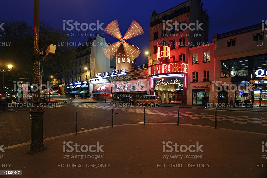 Moulin Rouge night view royalty-free stock photo