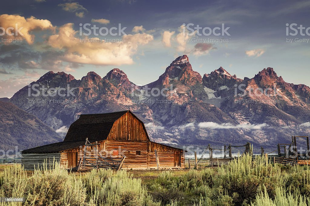 Moulton Barn and Tetons in Morning Light stock photo